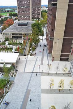 University of Massachusetts Amherst's Southwest Concourse Revitalization image: Charles Mayer, Charles Mayer Photography Landscape Plans, Urban Landscape, Landscape Architecture, Landscape Design, Architecture Diagrams, Architecture Portfolio, Modern Landscaping, Garden Landscaping, Public Space Design