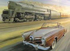 "imperialgoogie: ""danismm: ""Raymond Loewy "" I hope the train wins. Heaven forbid it should lose to a Studebaker. Raymond Loewy, Pennsylvania Railroad, Mobile Art, Car Makes, Us Cars, Googie, Paris, Automotive Design, Amazing Cars"