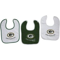 Green Bay Packers 3 Pack Baby Bib Set at the Packers Pro Shop http://www.packersproshop.com/sku/3001078038/