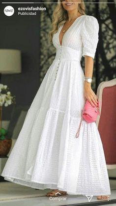 Cotton Dresses, Cute Dresses, Casual Dresses, Modesty Fashion, Fashion Dresses, Black Velvet Dress, White Dress, Classic Style Women, Types Of Fashion Styles