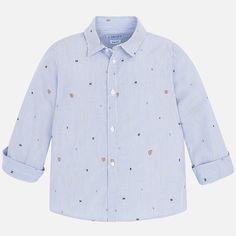 Slim fit jacquard long sleeve shirt with letters Little Rose, Long Sleeve Shirts, Letters, Slim, Shirt Dress, Mini, Boys, Fitness, Mens Tops
