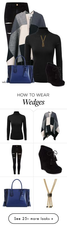"""Poncho & Turtleneck"" by coombsie24 on Polyvore featuring River Island, Carolina Herrera, Doublju, Longchamp, Jessica Simpson and Ashley Pittman"