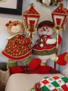 - Gingerbread, Mary, Red, Fabric Dolls, Bears, Snow, Holiday Ornaments, Ginger Beard