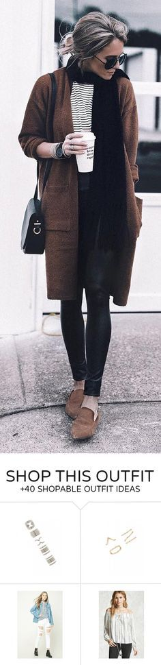 #winter #fashion / Brown Coat / Striped Tee / Black Scarf / Black Skinny Jeans / Brown Loafers