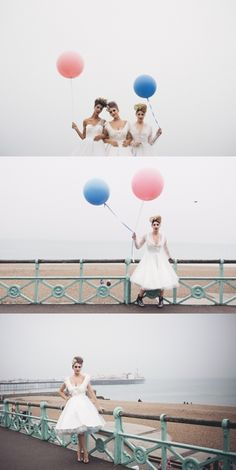Top photo - bride + bridesmaids