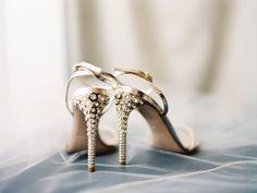 Metallic gold with a sparkly heel: http://www.stylemepretty.com/washington-dc-weddings/2015/08/10/romantic-dc-wedding/ | Photography: Bonnie Sen - http://bonniesen.com/