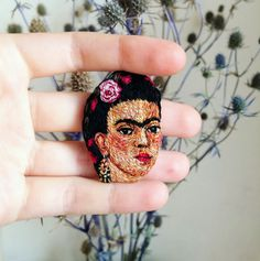 frida kahlo brooch. hand embroidery by naked needle