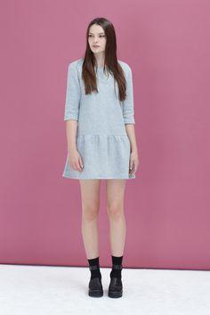 Drop Waist Jersey Dress Light Grey