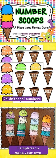 $ - a fun way to practice and review place value skills with a summer theme