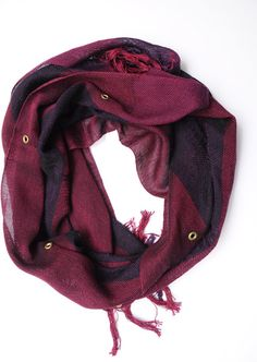 woven red cotton scarf with gold grommets