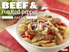 Easy beef and roasted pepper pasta is perfect for beginner chefs.