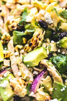 This super easy Mexican Street Corn Chicken Pasta Salad is the perfect summer staple main dish or side dish recipe. Healthy, delicious, and full of flavor! Corn Pasta Salad Recipe, Chicken Pasta Salad Recipes, Easy Pasta Salad, Salad Recipes For Dinner, Healthy Salad Recipes, Dinner Salads, Health Recipes, Healthy Eats, Healthy Foods