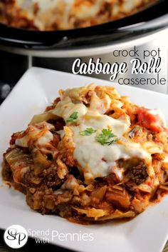 Deliciously easy, this Cabbage Roll Casserole recipe cooks up in the slow cooker all day.  All of the flavor without all of the fuss, this is sure to become a regular in your dinner rotation!