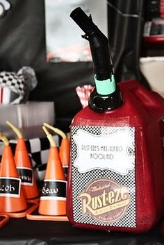 serve punch in a fuel can for Cars party