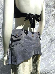 Gray Suede Leather Utility Pocket Elf Pixie Pouch Festival Belt 1 2 Skirt   1-5  BlueRayneBoutique 771672c09