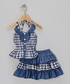 Loving this Lele Vintage Blue Gingham Halter Top & Skirt - Toddler & Girls on #zulily! #zulilyfinds