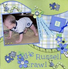 My grandson is crawling now (mostly army man style) but every now and then he gets up on his hands and feet. He is so funny (and so cute). The little book has more pics of him getting up on his hands and feet. It's quite a chore.