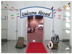 Cruise Party Entrance for one of the kids parties at night stake youth activity Cruise Theme Parties, Cruise Ship Party, Cruise Ship Wedding, Party Themes, Party Ideas, Cruise Ships, Decoration Theme Marin, Sea Decoration, Decorations