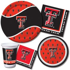 Texas Tech University Party Tableware  Root for the Red Raiders! Texas Tech Red Raider Party Supplies include themed tableware.