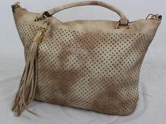 Elegante Damen Handtasche Shopper Umhängetasche mit Nieten Schwarz Beige Grau | eBay