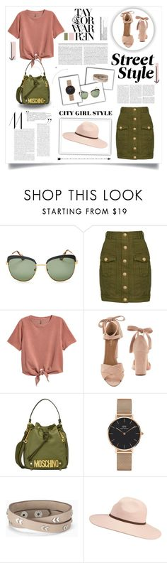 """Understanding is a two-way street"" by kikusek ❤ liked on Polyvore featuring Prada, Balmain, H&M, Aquazzura, Moschino, Daniel Wellington, Stella & Dot and Billabong"