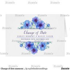 Change of date anemone blue wedding postponed card Wedding Envelopes, White Envelopes, Wedding Cards, Custom Invitations, Wedding Invitations, Purple Cards, Anemone Flower, Custom Greeting Cards, Purple Wedding
