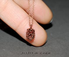 rose gold pine cone necklace, rose gold necklace, minimalist necklace, dainty necklace