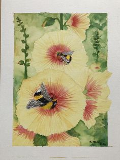 Watercolour Busy Bee, Watercolour, Painting, Art, Watercolor, Watercolor Painting, Painting Art, Paintings, Kunst