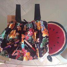 My #essentials on a hot #Sunday..☀️ #top #stradivarius #watermelon #handmade #clutch #oysho #mascara #loreal #eyeliner #maybelline #lipsticks #maccosmetics & #maybelline — Vicky's Style