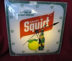 """Squirt Vintage Clock (Old Antique Soda Pop Beverage Drink Advertising Light Square Pam Sign, """"Never An After-Thirst"""")"""