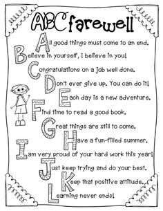 Totally Terrific in Texas: Clip Art and ABC Farewell Poems For Students, Letter To Students, End Of School Year, Pre School, School Days, Teacher Appreciation, Kindergarten Classroom, Classroom Ideas, Classroom Organization