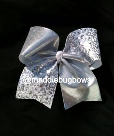 Silver and White Sequin Cheer Bow by MaddieBugBowtique on Etsy, $12.00