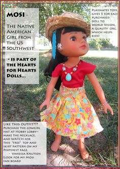 MOSI - Native American (Indian) Doll from the US Southwest. www.heartsforheartsgirls.com  One of many wonderful multicultural Hearts for Hearts Girls dolls. Watch my MOSI Pinterest fan board for free pattern for this red top, necklace, and yellow patterned skirt. Vanessa Knutsen
