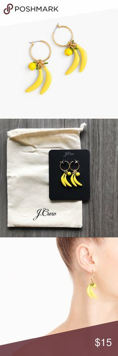 J.Crew banana hoop earrings Brand new with tags! These banana hoop earrings make such a fun statement. J. Crew Jewelry Earrings