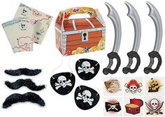 """12 packs of 3"""" self-adhesive mustaches. Each pack has 3 assorted mustache styles for a total of 36........ 12 Vinyl Inflatable Pirate Swords. Swords Inflate to 2 feet........ 72 Pirate tattoos. Easy to apply and remove. 12 Treasure Chest Treat Boxes. Each card stock box looks like a treasure chest. 6 1/8"""" Simple assembly required. #partyflavors #gentlemanpirateclub #piratethemed #amazon #piratelovers Pirate Party Supplies, Pirate Party Favors, Pirate Birthday, Pirate Theme, Pirate Tattoo, Party Giveaways, Fun Express, Pirate Skull, Kids Party Themes"""