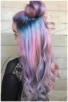 Brown Ombre Hair, Purple Ombre, Ombre Hair Color, Cool Hair Color, Purple Hair, Unicorn Hair Color, Pink Blue, Lilac, Cotton Candy Hair