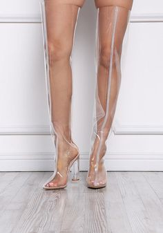 Cape Robbin Nude Perspex Thigh High Boots – Boots+Booties – Shoes - All About Clear Rain Boots, Clear Shoes, Thigh High Boots, High Heel Boots, Bootie Boots, Crazy Shoes, Me Too Shoes, Plastic Shoes, Designer High Heels