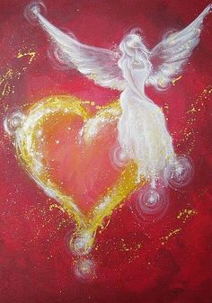 Limited angel art poster: angel heart modern by HenriettesART - All Around Art Pictures Poster Photo, Top Paintings, Angel Paintings, Kunst Poster, I Believe In Angels, Angel Heart, Angel Wings, Photo D Art, Angels Among Us