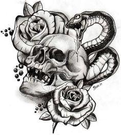 Skulls Snake Drawings - Skulls snake & schädel schlange & crânes serpent & serpiente de calaveras & skulls drawing, skulls artwork, s. Skull Rose Tattoos, Body Art Tattoos, Sleeve Tattoos, Gun Tattoos, Tattos, Tattoo Sketches, Tattoo Drawings, Skull Drawings, Skull Tattoo Design