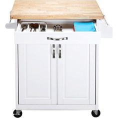 Cart Kitchen Island Rolling Wood Storage Utility Multiple Finishes White Solid Finish Adjustable Natural Cupboard Portable Cabinet Black Brown -- Awesome products selected by Anna Churchill
