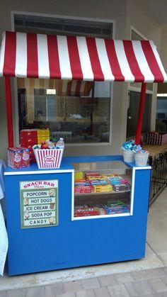 Backyard movie night snack bar / concession stand diy
