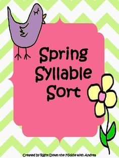 Spring Syllable Sort is a great center activity for your students to demonstrate their knowledge of syllable counting. The students work with one syllable, two syllable, and three syllable words. $
