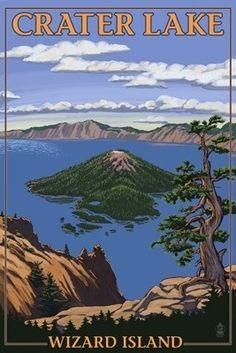 Crater Lake, Oregon - Wizard Island View - Lantern Press Poster