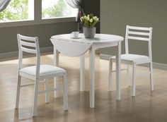 White 3Pcs Dining Set With A 36″Dia Drop Leaf Table |