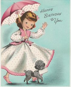 Happy birthday to you! #poodles #vintage #birthday #cards