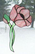 Handmade Stained Glass Flower, POPPY Pink  Suncatcher (PO20)