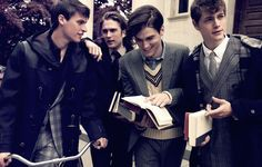 """Who knew the Marauders could look 'Oh So British'"" Moony, Padfoot, Prongs and Wormtail taken by Marlene"