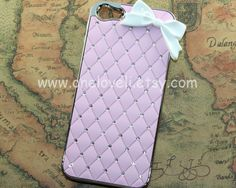 iphone 5 case,Pink & crystal bowknot iphone case for iPhone 5 Case. $12.99, via Etsy.
