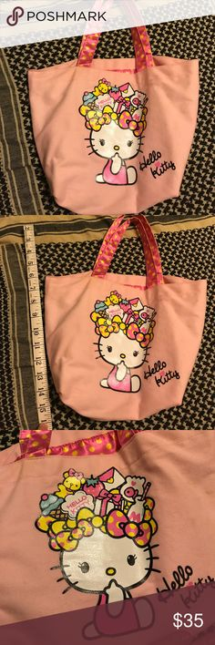 Hello Kitty Purse  I've never seen anyone else with this bag. I couldn't find anything about it online to give you details. Her head dress is full of her favorite things (milk etc.) canvas bag. Interior and handles are a silky/soft material- pink with yellow dots Small spot on the back of the bag- shown in picture. Has a cell phone pocket inside. Bag does not have a closer or clasp. Her bows are so cute!  A real Hello Kitty lover knows what a catch this bag is✨ Any questions please ask…