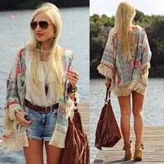 Aliexpress.com: Comprar 2016 verano blusa de la gasa Retro Hippie de Boho Floral Lace Cardigan Kimono Blusa Escudo Cabo Blazer Jacket Top de Blusas y Camisas fiable proveedores en SomiGirl